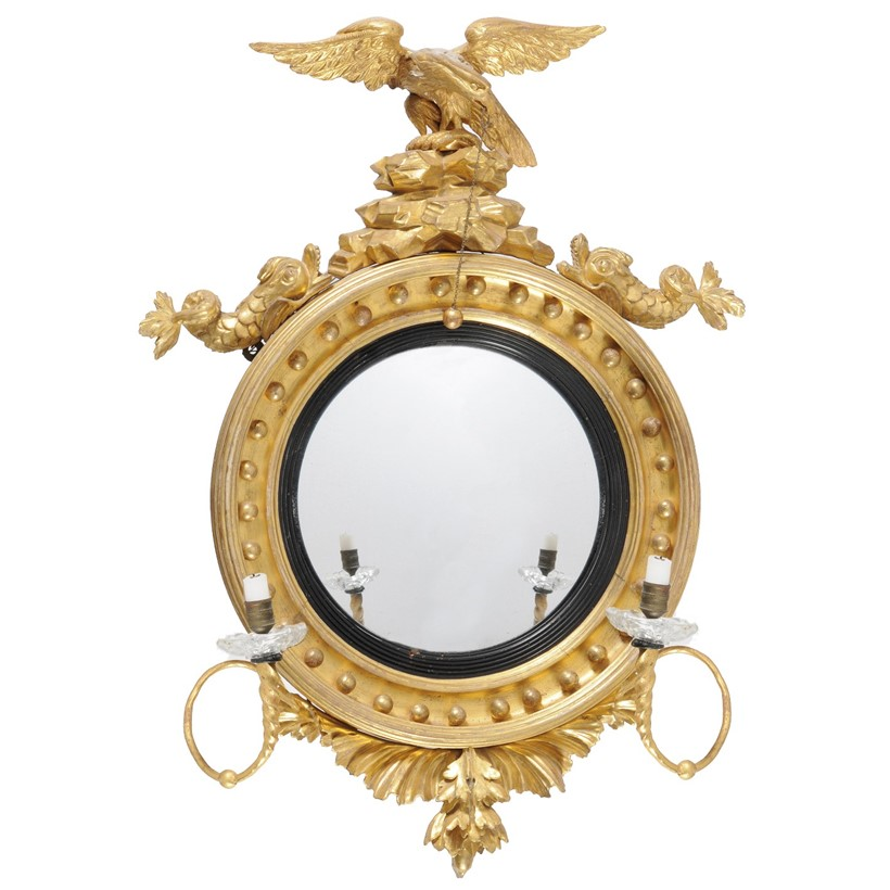 Inline Image - Lot 23, a George III giltwood and gesso girandole convex mirror; est. £400-600 (+fees)