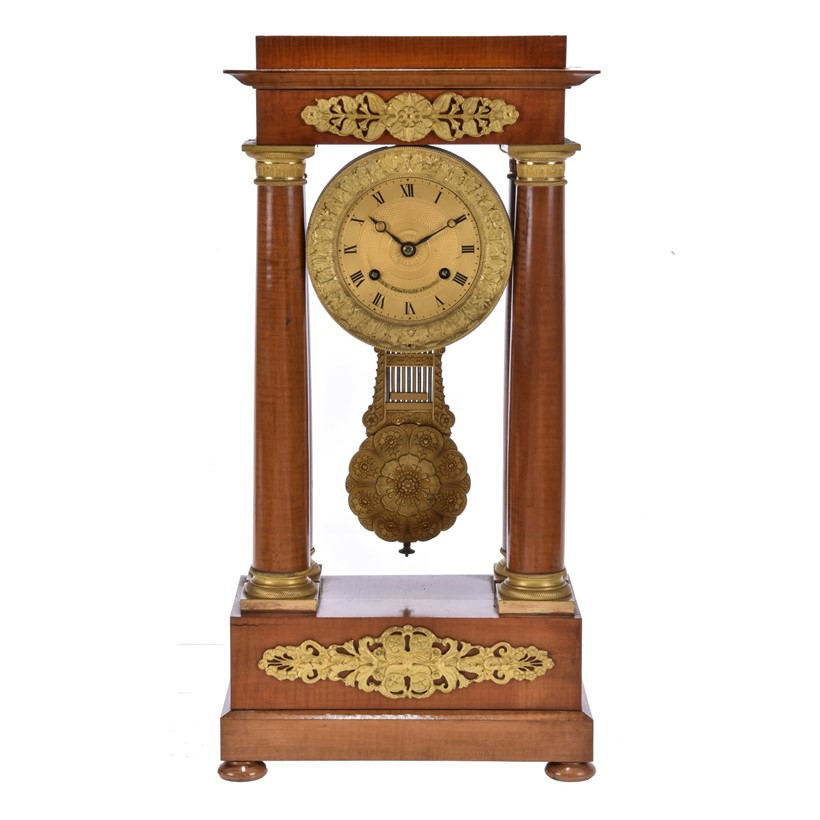 Inline Image - Lot 103, a Louis Philippe satinwood and gilt metal gilt-mounted Portico mantel clock; est. £300-500 (+fees)