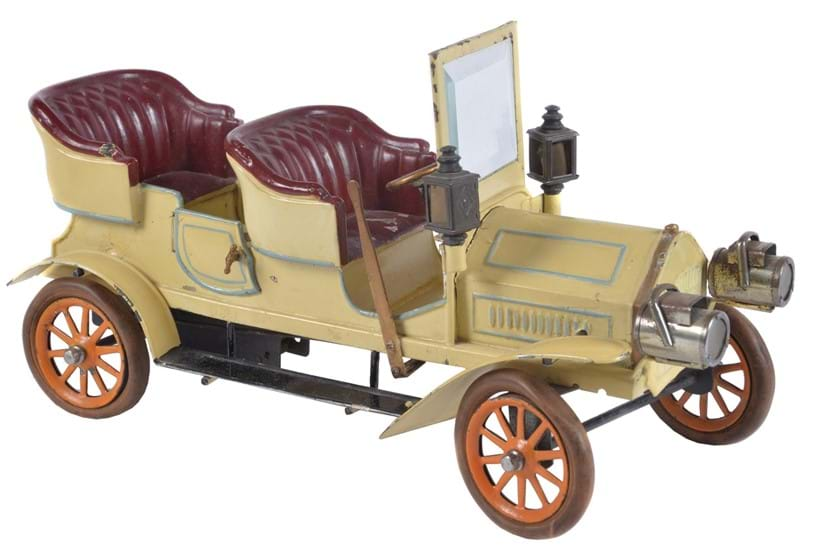 Inline Image - Lot 357, a Bing Clockwork Tinplate 4-seat Touring Motor Car,  first quarter 20thc., 32cm long overall; est, £2,000-3,000 (+fees)