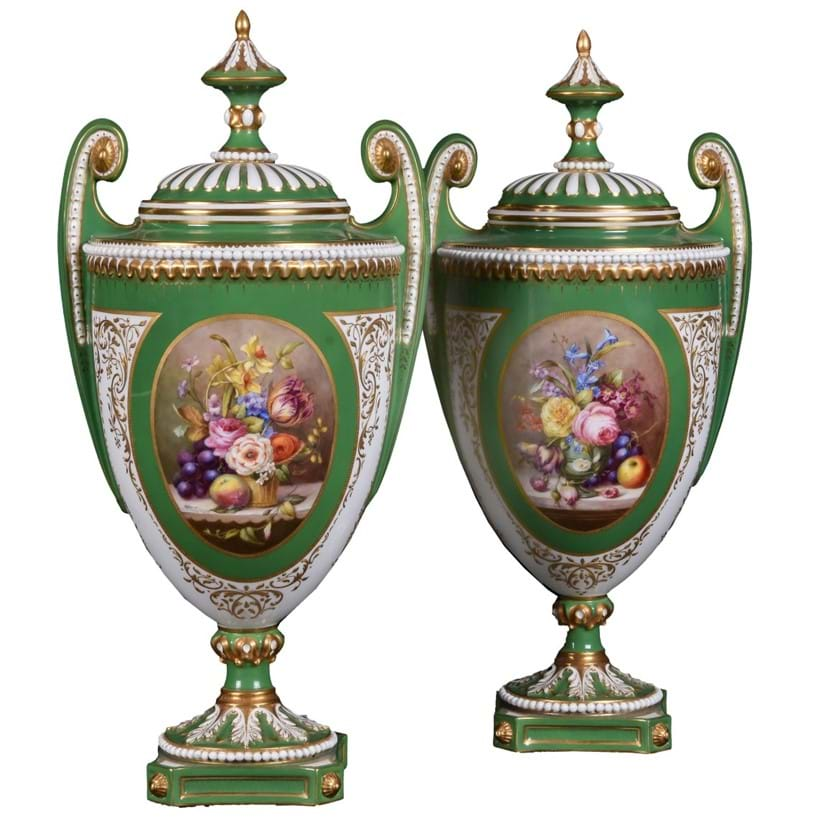 Inline Image - Lot 179, two similar Royal Worcester green-ground and gilt urns and cover; est. £200-300 (+fees)