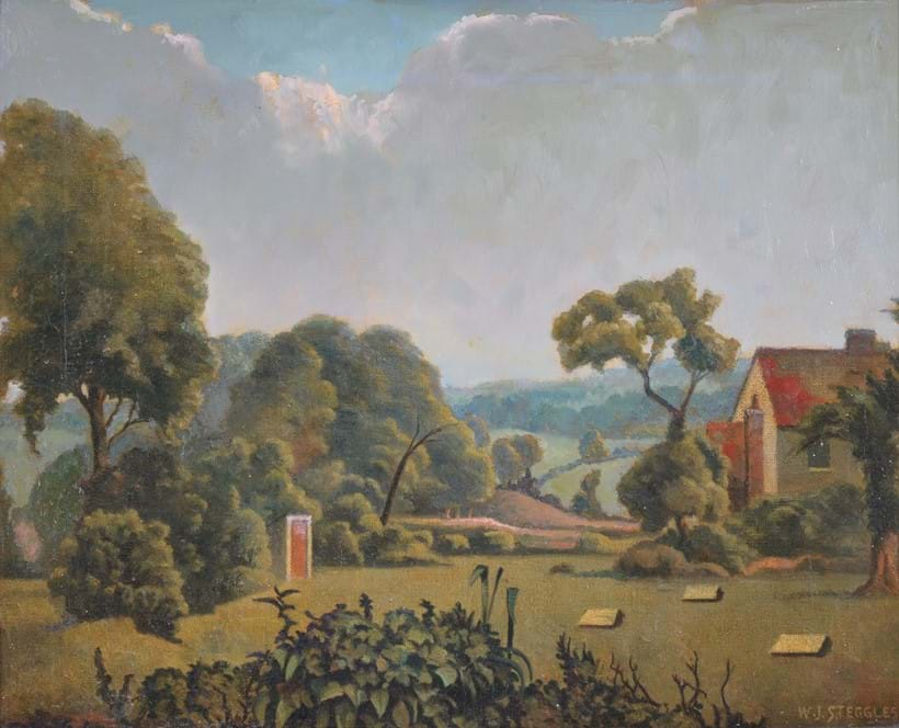 Inline Image - Walter Steggles (British 1908-1997), Suffolk farm, oil on canvas; est. £1,000-1,500, sold for £5,580