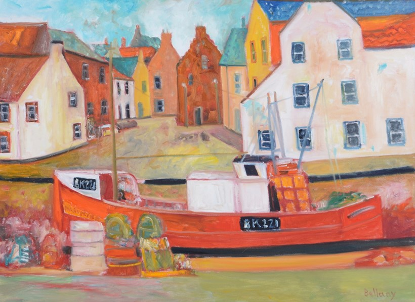 Inline Image - John Bellany (British 1942-2013), Red Trawler Harbour, oil on canvas; est. £2,000-3,000, sold for £6,820
