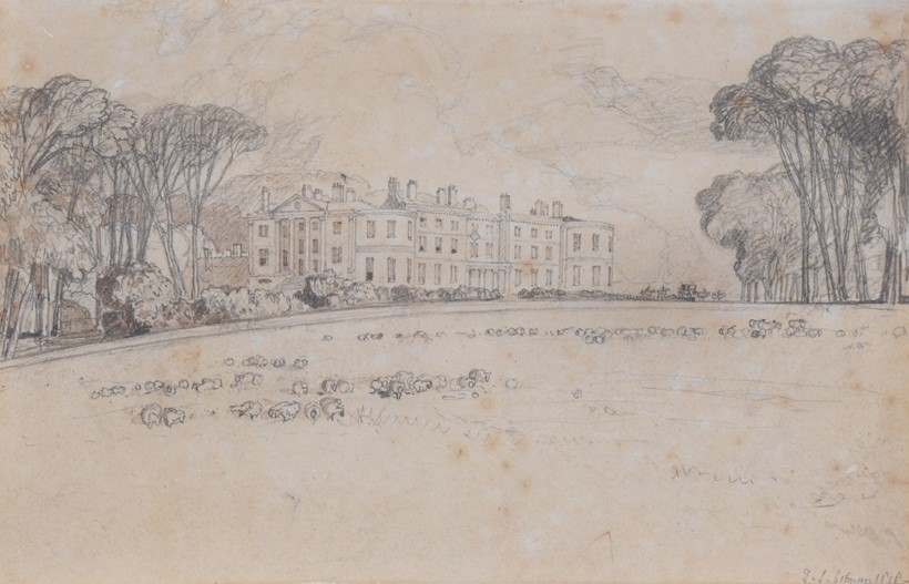Inline Image - John Sell Cotman (British 1782-1842), Quiddenham Hall, Attleborough, Norfolk, pencil and brown wash; est. £600-800, sold for £2,728