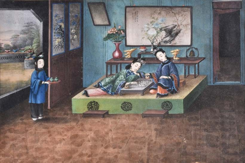 Inline Image - Lot 16, a set of seven Chinese gouache paintings; est. £1,000-1,500, sold for £8,125