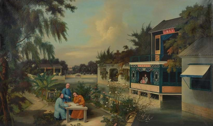 Inline Image - Lot 18, Circle of Youqua (fl.1840-1880), Three men playing Go in a Chinese garden; est. £3,000-5,000, sold for £12,500