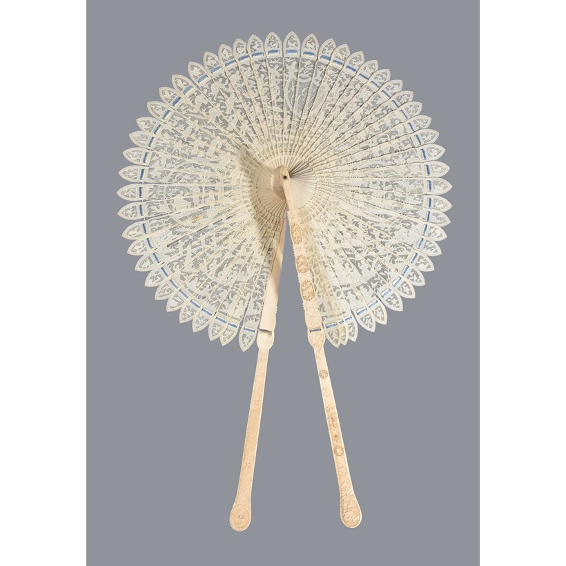 Inline Image - Lot 201, a good Chinese monogrammed ivory 'cockade' fan; est. £3,000-5,000, sold for £8,125