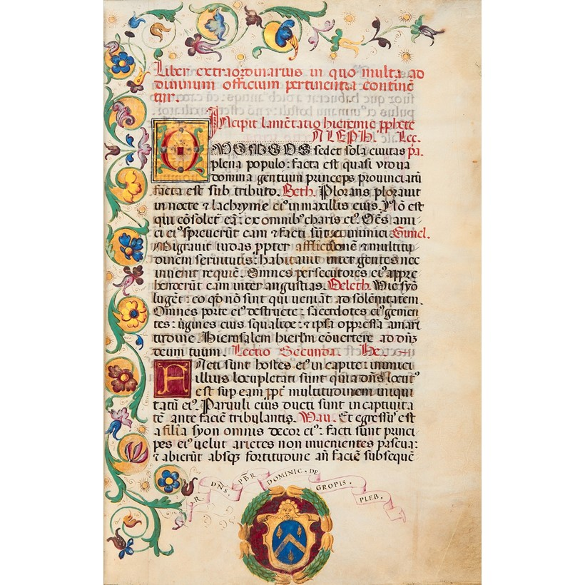 Inline Image - Lot 61, 'Liber Extraordinaire', a Festal Lectionary with Invitatories and Antiphons, in Latin, illuminated manuscript on parchment, [Italy (Milan), dated 1546]; est. £12,000-18,000 (+fees)