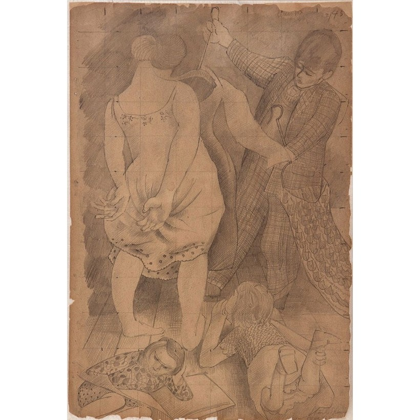 Inline Image - Stanley Spencer (British 1891-1959), Me and Hilda - Dresses, drawing in pencil, sold by Dreweatts, 2013