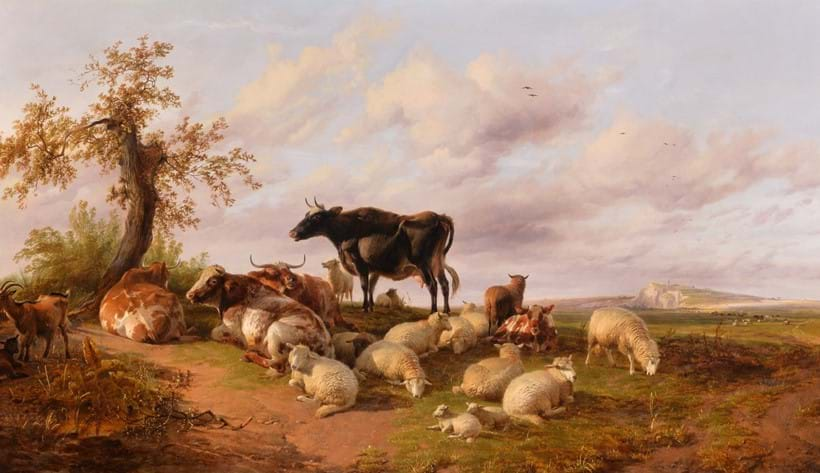 Inline Image - Lot 31: Thomas Sidney Cooper (British 1803-1902), Cattle and sheep resting by the Kent coast; est. £25,000-35,000 (+fees)
