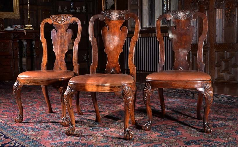 Inline Image - Lot 107: A set of three Chinese Export padouk chairs, circa 1735, after a design by Giles Grendey, circa 1735; est. £15,000-20,000 (+fees)
