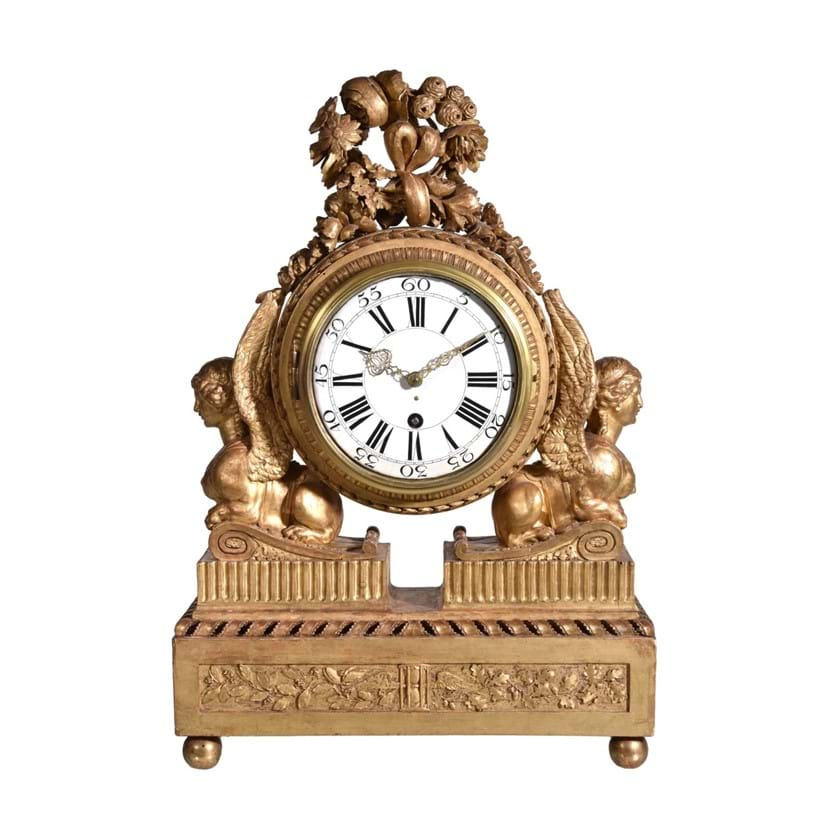 Inline Image - Lot 392, Continental carved giltwood mantel clock, early 19th century; est. £400-600 (+fees), from The Ballyedmond Collection