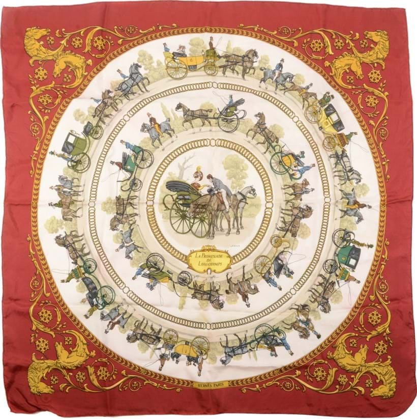 Inline Image - Lot 689, La Promenade de Longchamps, silk scarf designed by Ledoux, with horse and carriage decoration, with rolled edges; est. £80-120 (+fees)