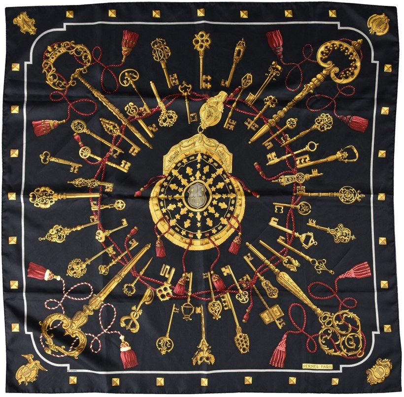 Inline Image - Lot 690, Les Cles, black silk scarf, designed by Cathy Latham  with key and tassel decoration and rolled edges; est. £120-160 (+fees)