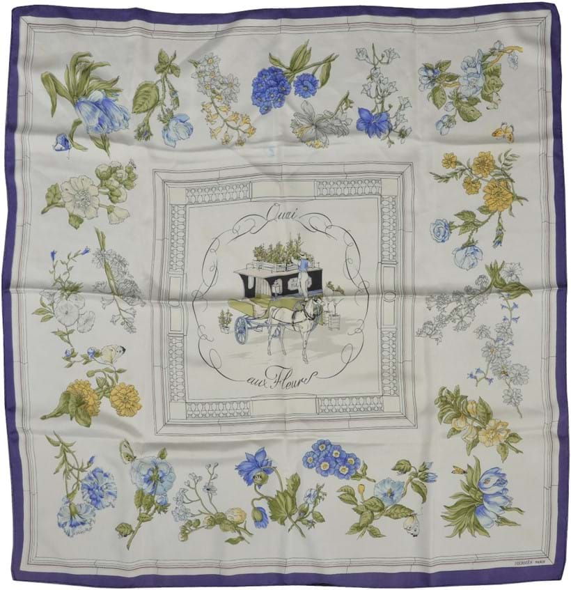 Inline Image - Lot 691, Quai aux Fleurs, silk scarf designed by Hugo Grygkar, decorated with floral sprays, with rolled edges; est. £100-200 (+fees)