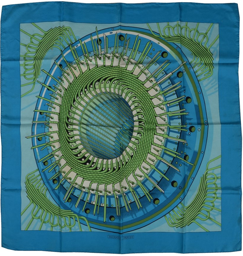 Inline Image - Lot 697, Alternateur, turquoise silk scarf designed by Pierre Peron, decorated with an alternator, with rolled edges; est. £120-160 (+fees)