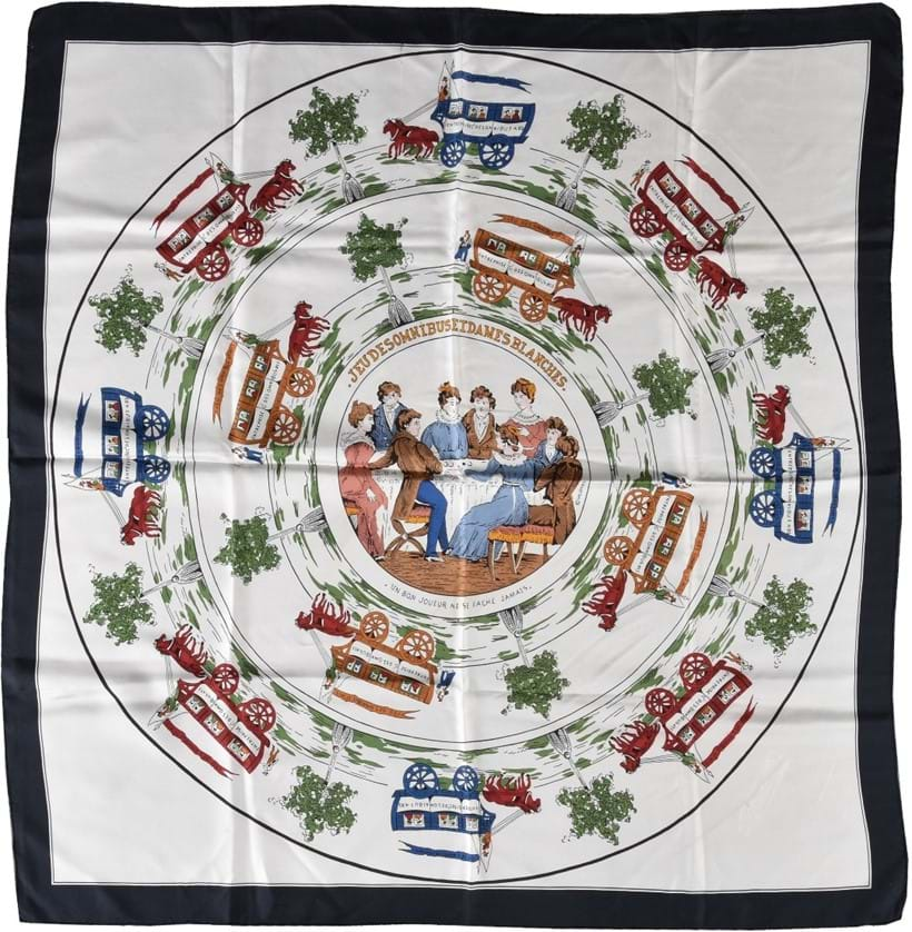 Inline Image - Lot 704, Jeu Des Omnibus Et Dames Blanches, silk scarf with horse and carriage decoration and ladies seated around a table playing a game, with rolled edges; est. £80-120 (+fees)