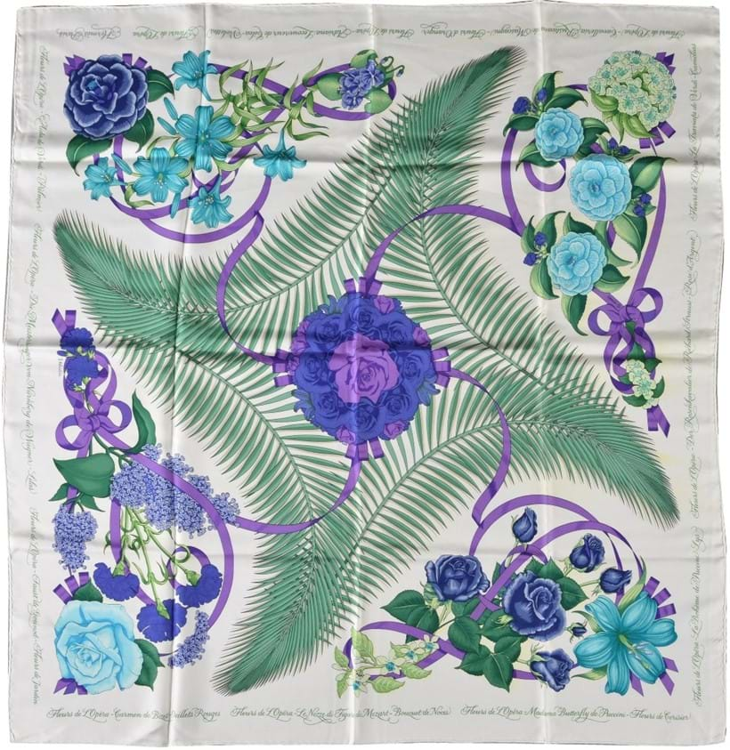 Inline Image - Lot 706, Fleurs De L'opera, white silk scarf, designed by Julie Abadie, with floral, foliage and ribbon decoration, with rolled edges; est. £70-100 (+fees)