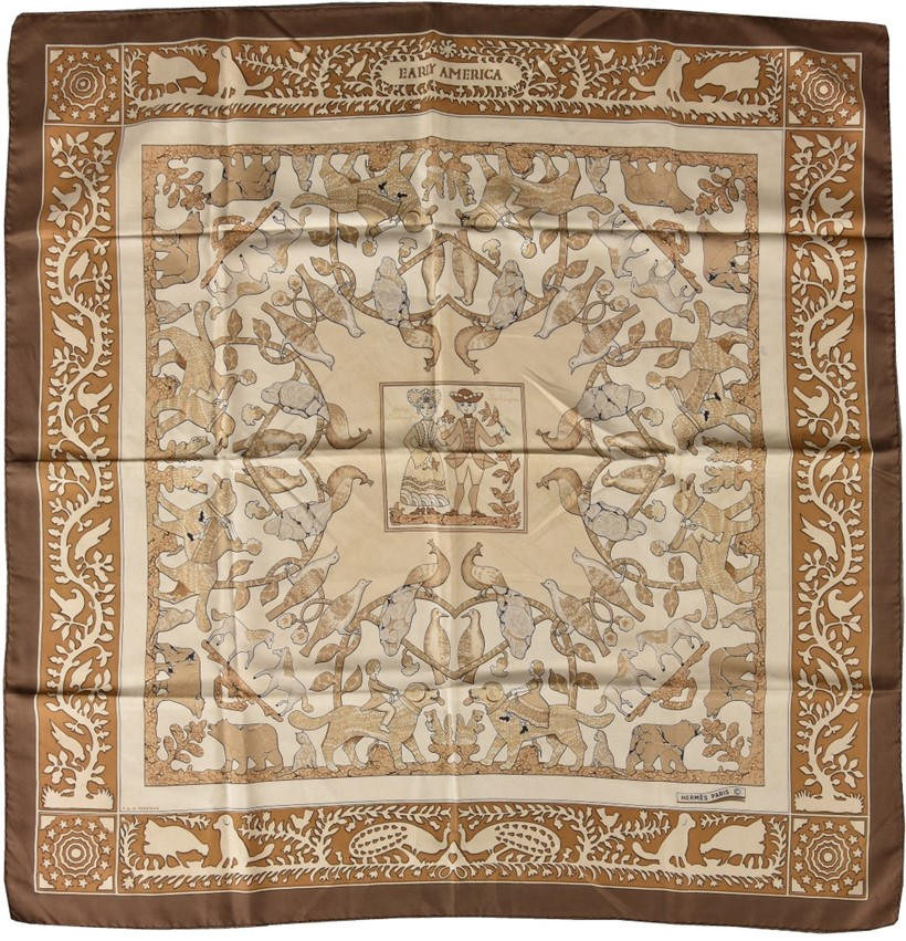 Inline Image - Lot 707, Early America, brown silk scarf, designed by Francoise De La Perron, with animal and foliate decoration, the centre featuring General and Lady Washington, with rolled edges; est. £70-100 (+fees)
