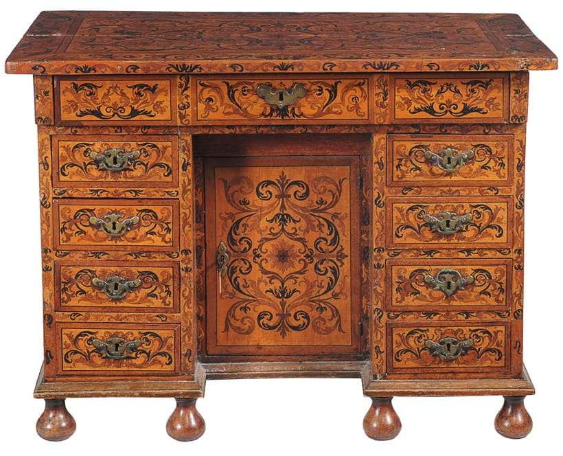 Inline Image - Lot 15, a Continental sycamore marquetry inlaid knee hole desk, circa 1700; est. £800-1,200 (+fees)