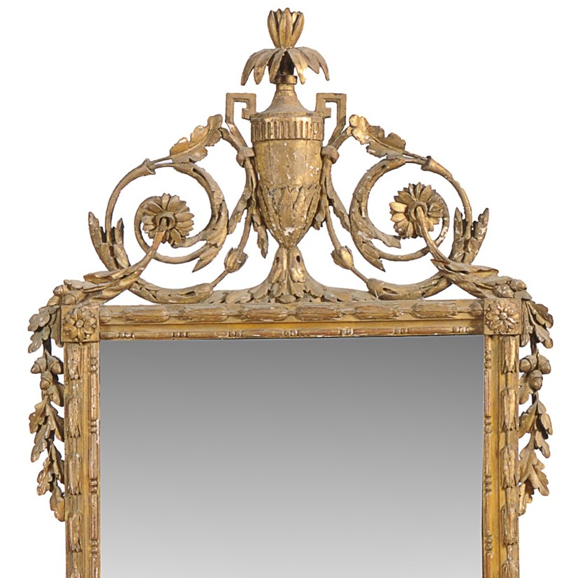 Inline Image - Lot 93, detail, a Continental carved and giltwood framed wall mirror; est. £700-1,200 (+fees)