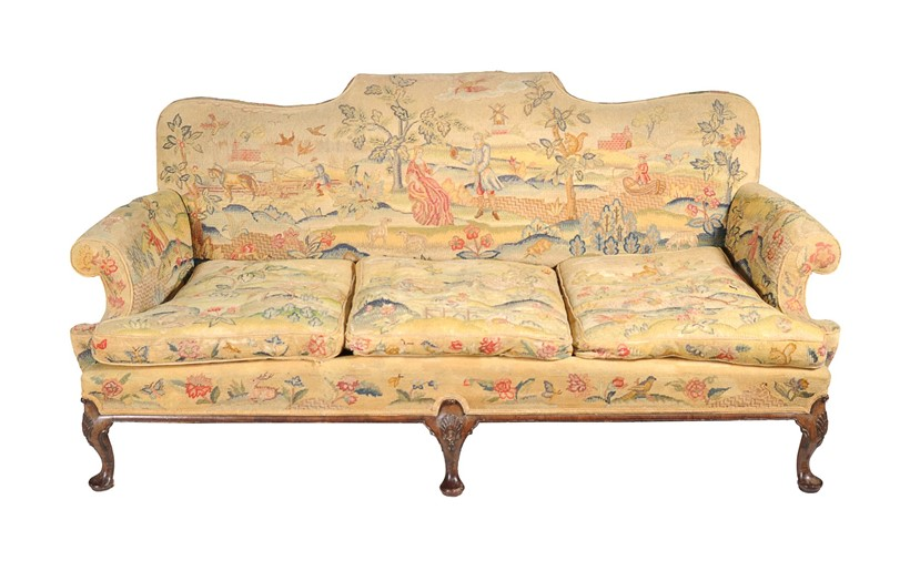 Inline Image - Lot 54, a carved walnut and woolwork upholstered sofa; est. £800-1,200 (+fees)