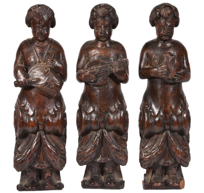 Inline Image - Lot 68, three northern European late 17th century carved term figures of musicians; est. £500-800 (+fees)
