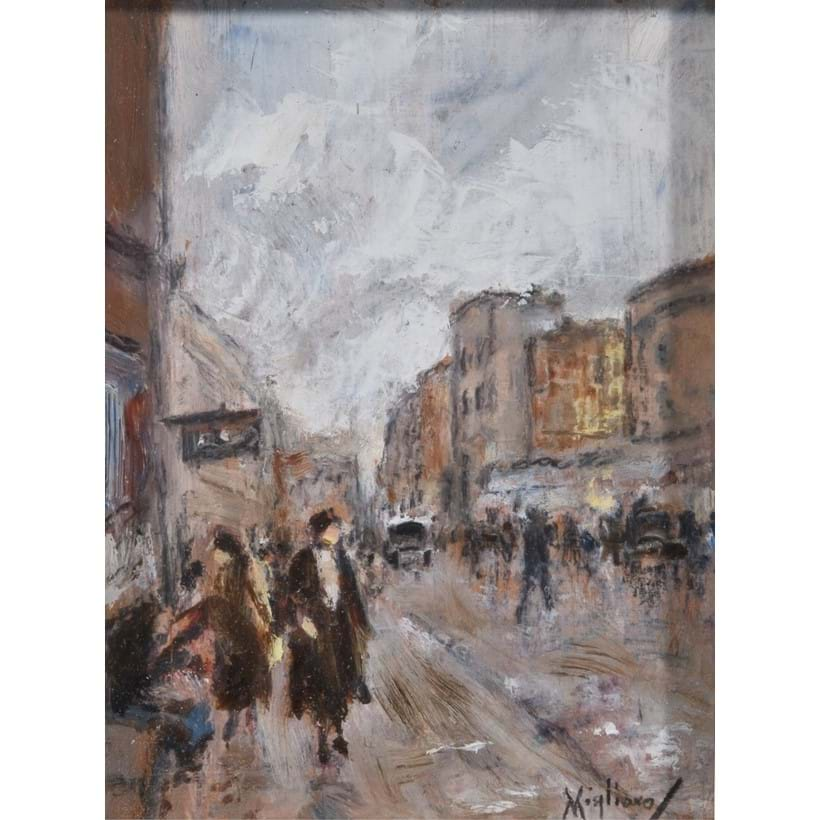 Inline Image - Lot 194, Vincenzo Migliaro (Italian 1858-1938), Street scene with figures; est. £400-600 (+fees)