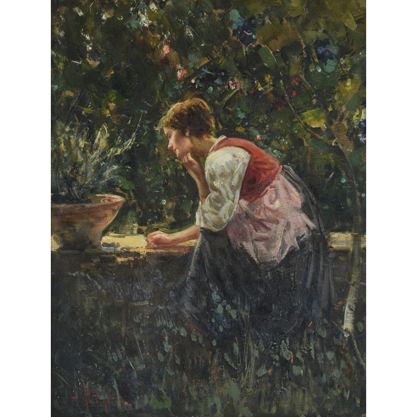 Inline Image - Lot 185, Luca Postiglione (Italian 1876-1936), Young girl sitting in the garden; est. £400-600 (+fees)