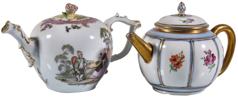 Inline Image - Lot 223, two Meissen porcelain bullet-shaped tea pots and covers; est. £300-500 (+fees)