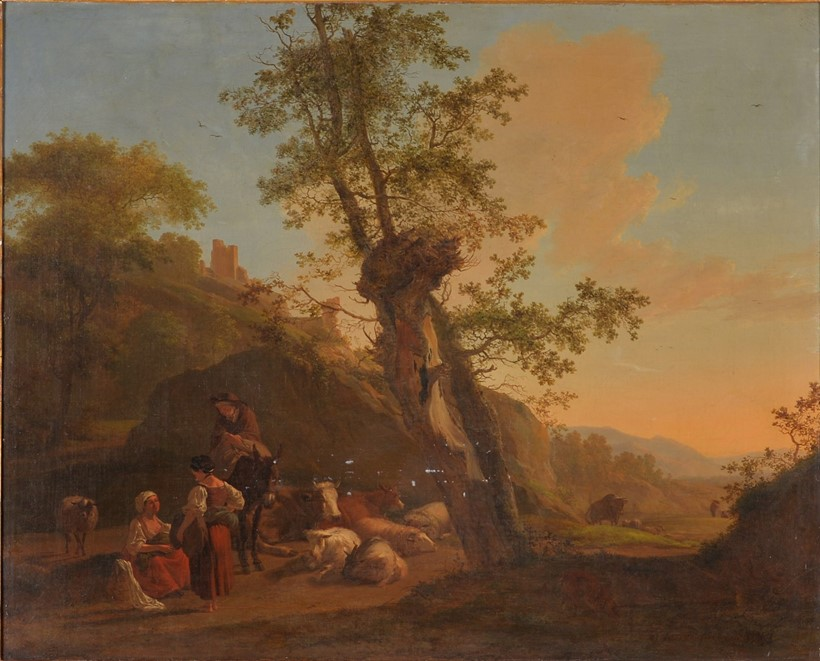 Inline Image - Lot 229, Nicholas Henri Joseph Fassin (Belgian 1727-1811),  A drover and figures resting in an Italianate landscape; est. £3,000-5,000 (+fees)