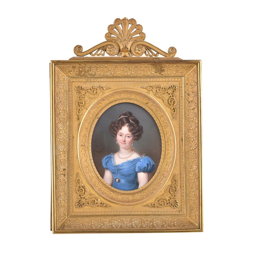 Inline Image - Lot 243, Jean-Baptiste Jacques Augustin (1759-1832),  Portrait of a young lady wearing jewellery and a blue dress; est. £4,000-6,000 (+fees)