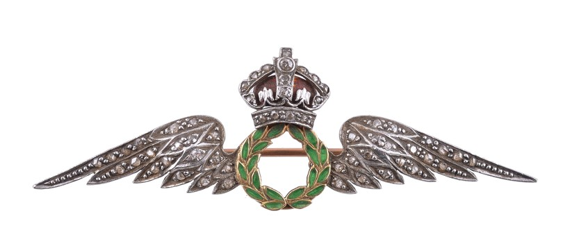Inline Image - Lot 36, a mid 20th century diamond set RAF sweetheart brooch, with rose cut diamond set wings; est. £150-250 (+fees)