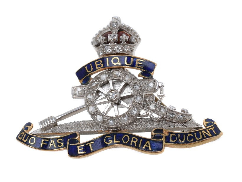 Inline Image - Lot 37, a mid 20th century Royal Artillery diamond set sweetheart brooch; est. £200-300 (+fees)