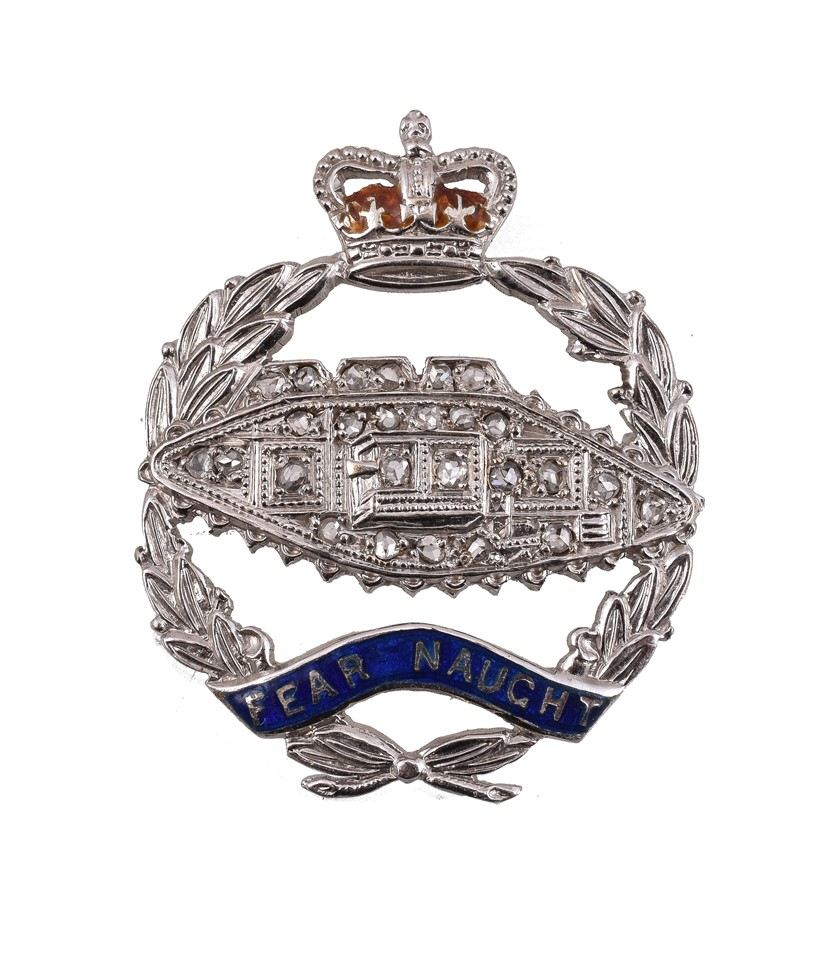 Inline Image - Lot 39, a Royal Tank Regiment diamond sweetheart brooch; est. £150-250 (+fees)