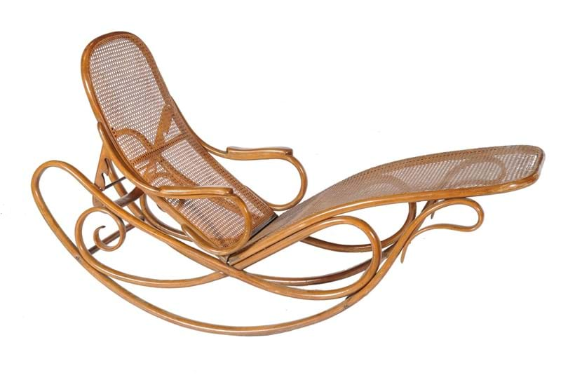 Inline Image - Lot 43, Gebrüder Thonet, Schaukel sofa, no. 7500, beech bentwood and caned rocking chaise lounge, early 20thc.; est. £2,000-3,000 (+fees)