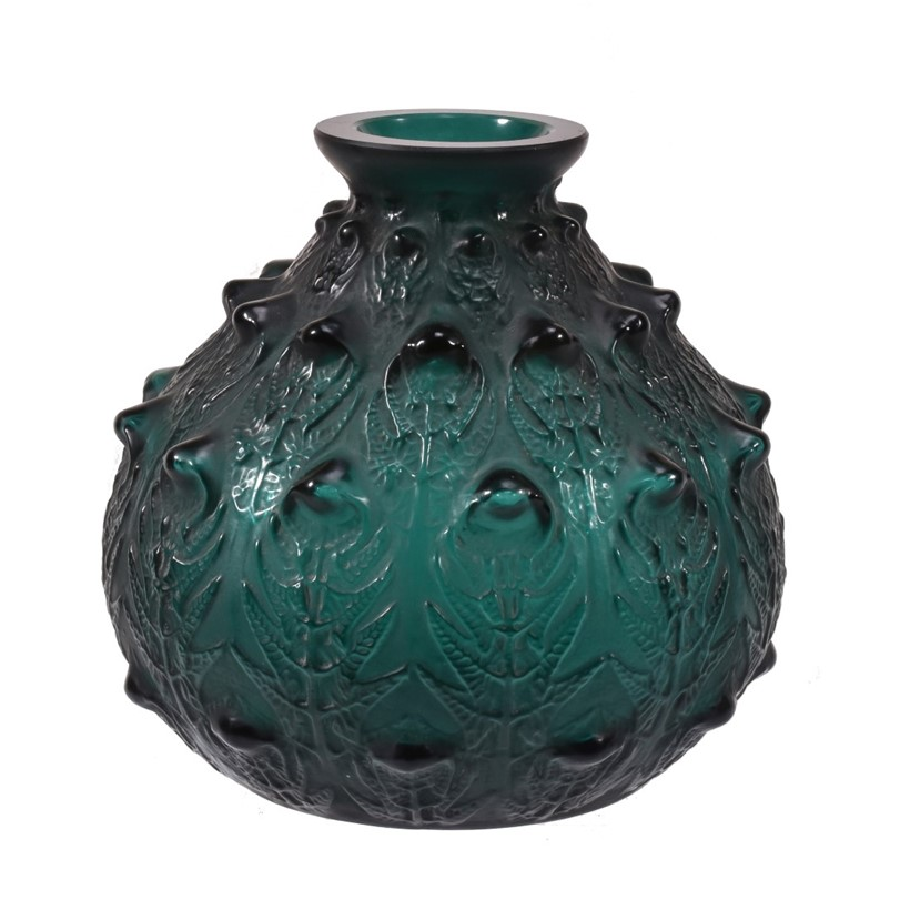 Inline Image - Lot 65, René Lalique, Fougères, a green glass vase; est. £2,500-3,500 (+fees)