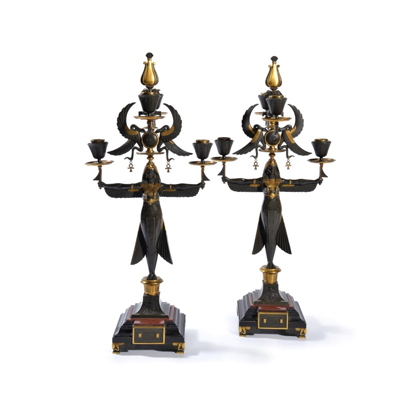 Inline Image - Lot 101, a pair of French parcel gilt bronze five light figural candelabra, in Egyptian Revival taste, circa 1870; est. £1,000-1,500 (+fees)