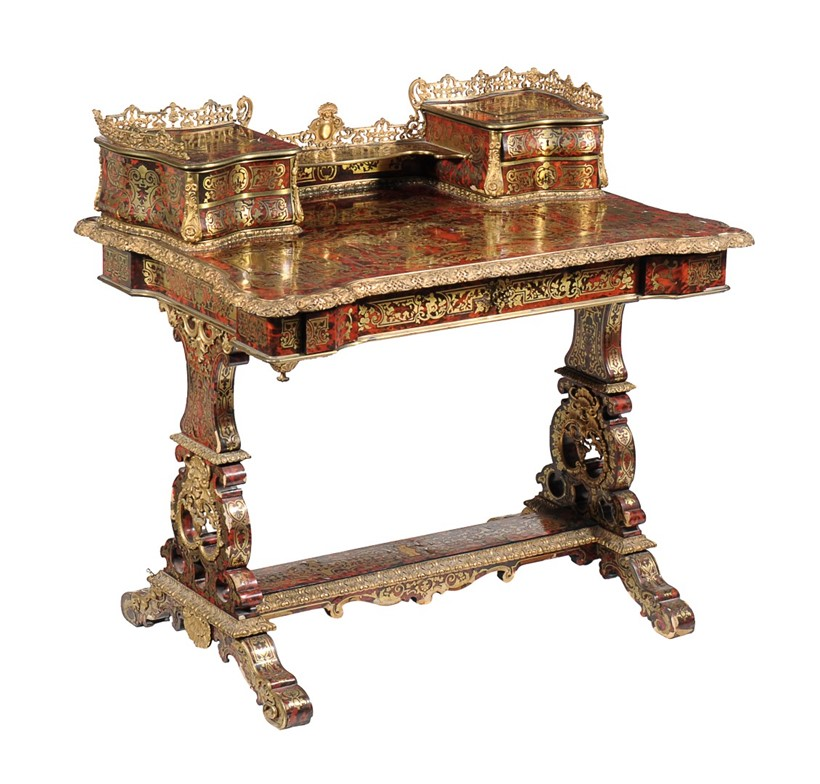 Inline Image - Lot 124, Napoleon III ormolu-mounted cut-brass-inlaid and tortoiseshell 'Boulle' writing table, mid 19th century; est. £4,000-6,000 (+fees)
