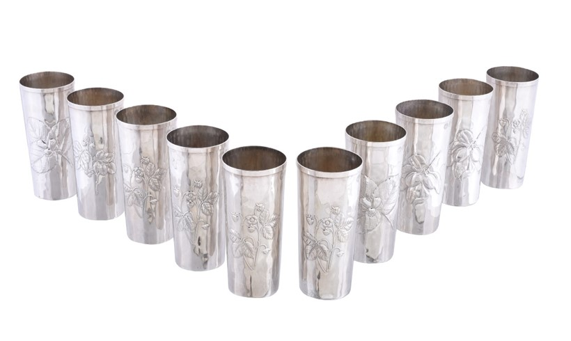 Inline Image - Lot 192, a set of ten Italian silver coloured beakers by Brandimarte, Florence, post 1968, embossed with berries or flowers; est. £300-500 (+fees)