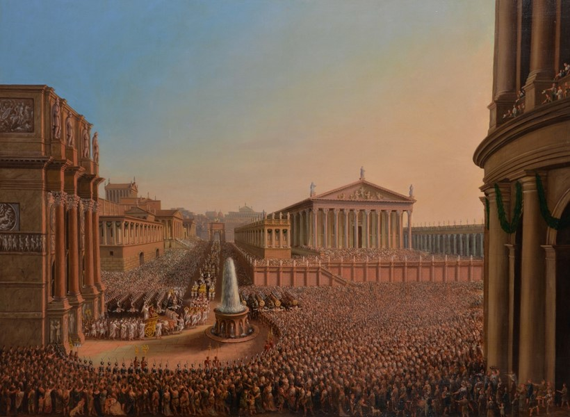 Inline Image - Lot 73, Circle of Sir Charles Eastlake, A triumphal procession through Rome, oil on canvas; est. £6,000-8,000 (+fees)