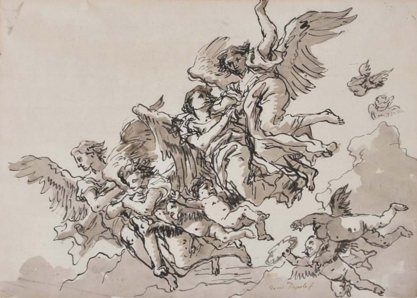 Inline Image - Lot 4, Giovanni Tiepolo (Italian 1727-1804), Angels and Putti with a Victor's Crown, pen, ink and wash, signed lower centre; est. £10,000-15,000 (+fees)