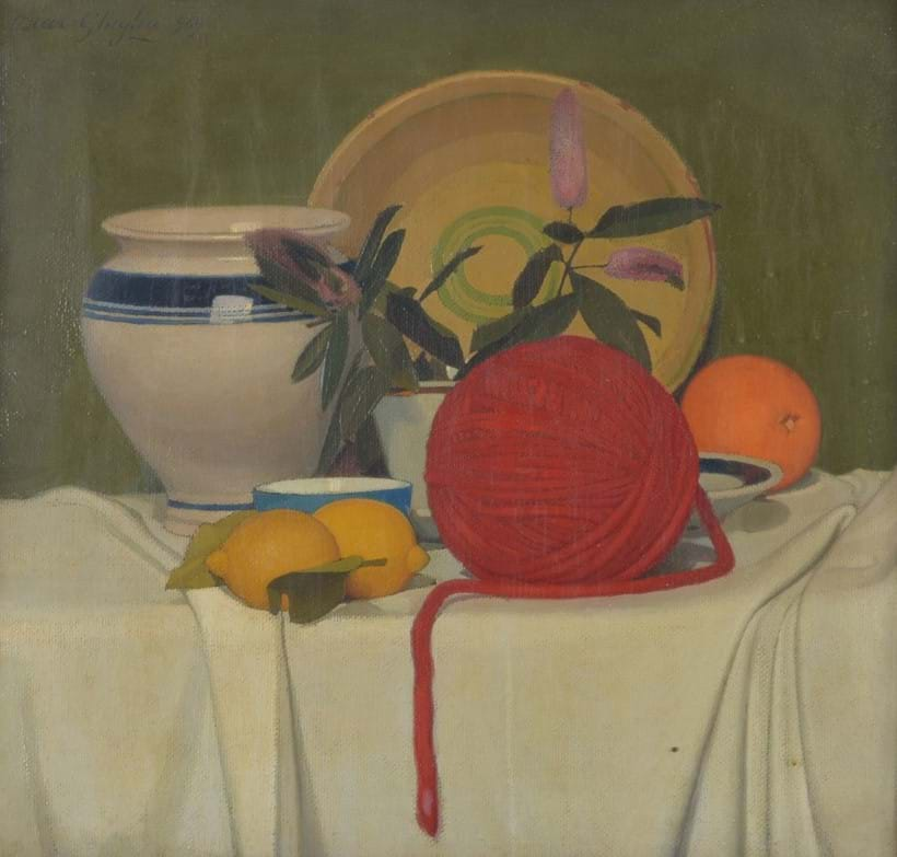 Inline Image - Lot 192, Oscar Ghiglia (Italian 1876-1945), Still life with lemons and wool, oil on canvas; est. £12,000-18,000 (+fees)