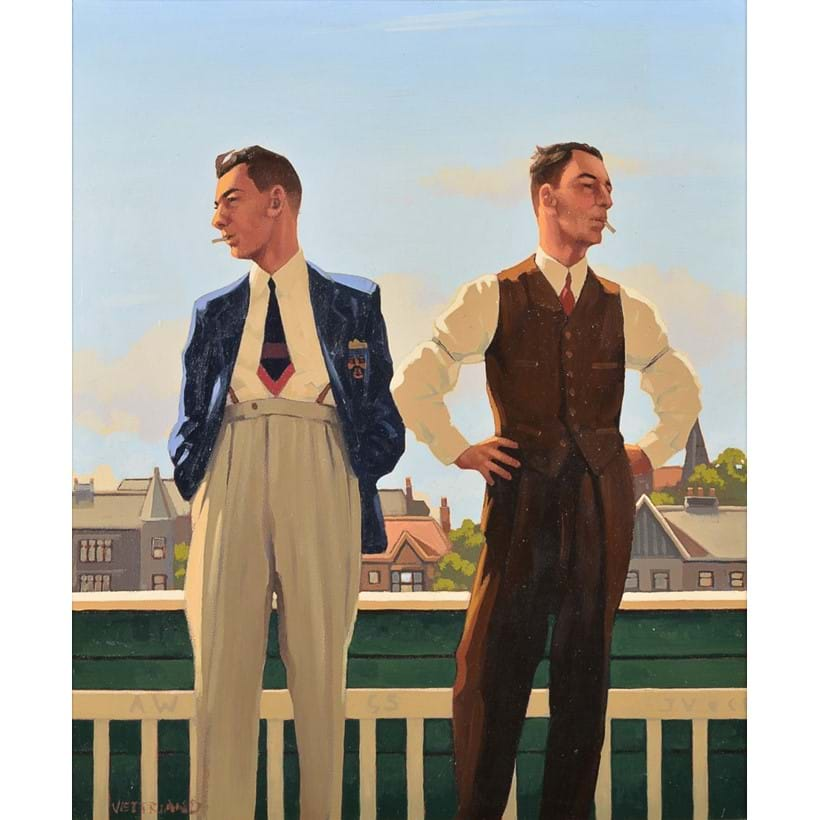 Inline Image - Lot 202, Jack Vettriano (Scottish b. 1951), The Cricketers, oil on canvas; est. £20,000-30,000 (+fees)