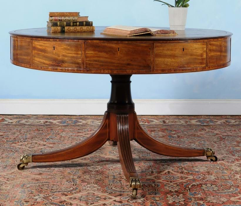Inline Image - Lot 64, George III mahogany drum library table, circa 1780, Provenance: from a Private Collection; est. £5,000-8,000 (+fees)