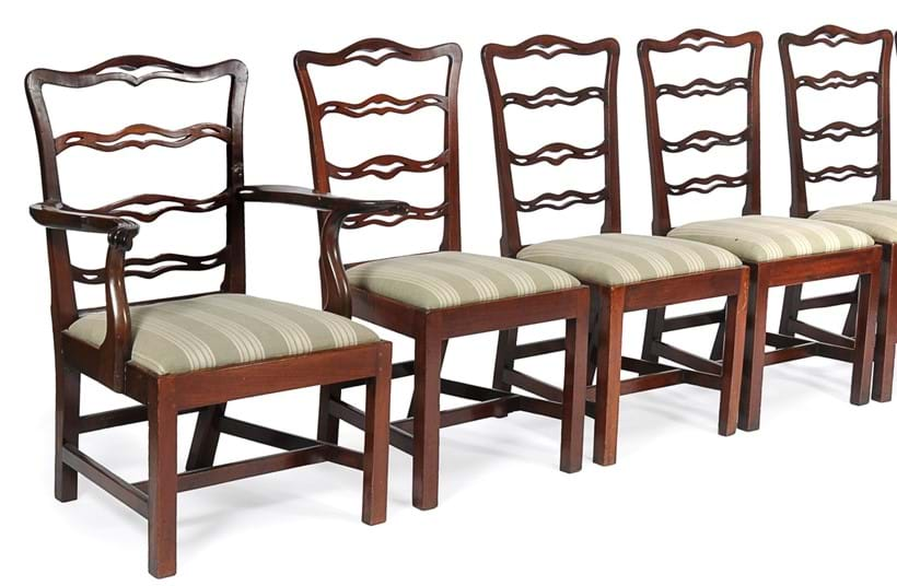 Inline Image - Lot 67, a matched set of twenty mahogany dining chairs, circa 1780 (seven) and 20th century (thirteen); est. £3,000-5,000 (+fees)