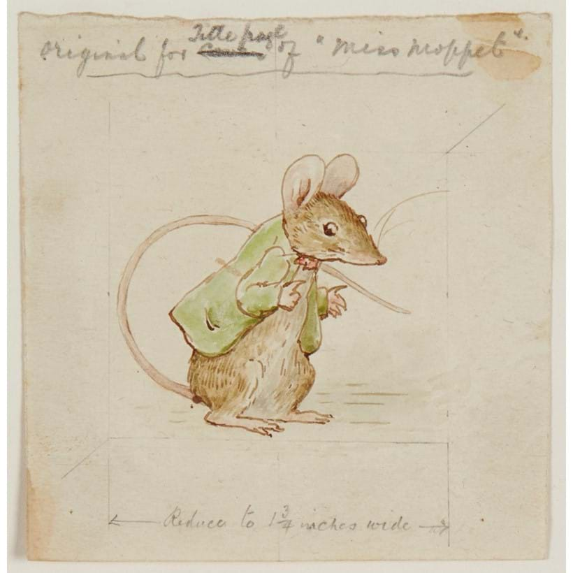 Inline Image - Original watercolour study for the mouse that appears in The Story of Miss Moppet, finishing the tale dancing a victory jig having escaped the eponymous kitten | with an autograph pencil note by Beatrix Potter | 1906, est. £8,000-10,000, sold for £16,120