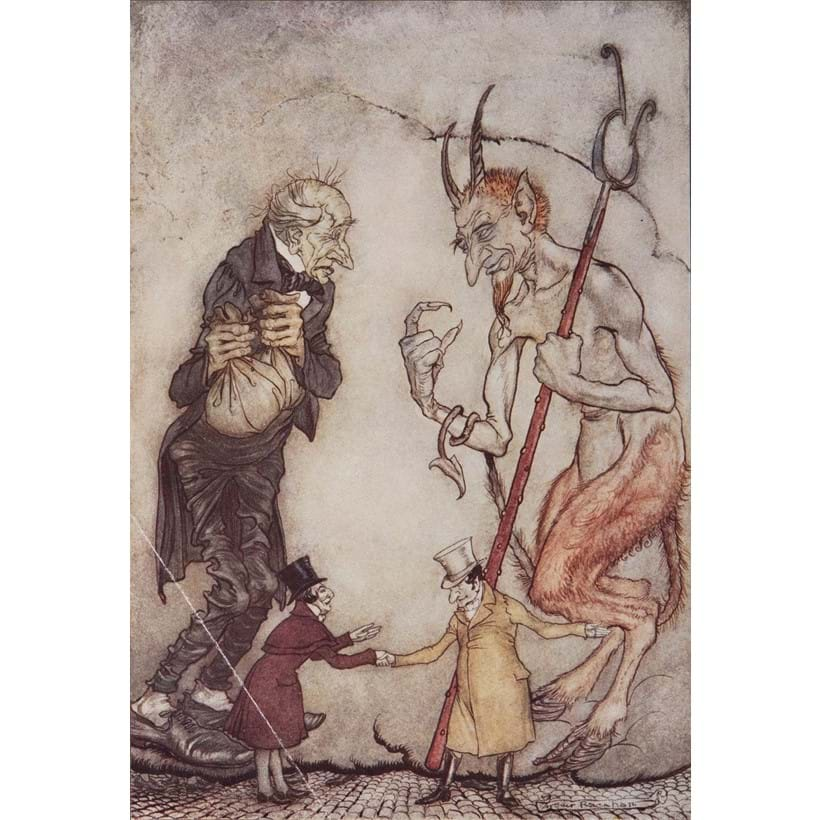 Inline Image - Charles Dickens, A Christmas Carol | one of 500 deluxe copies signed by the illustrator, 12 tipped-in colour plates by Arthur Rackham | Riall, 1915, est. £800-1,200, sold for £1,054