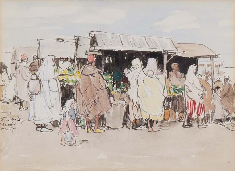 Inline Image - James McBey, Vegetable Market, Tangiers | watercolour and ink, signed and dated, 1959 | est. £400-600, sold for £806
