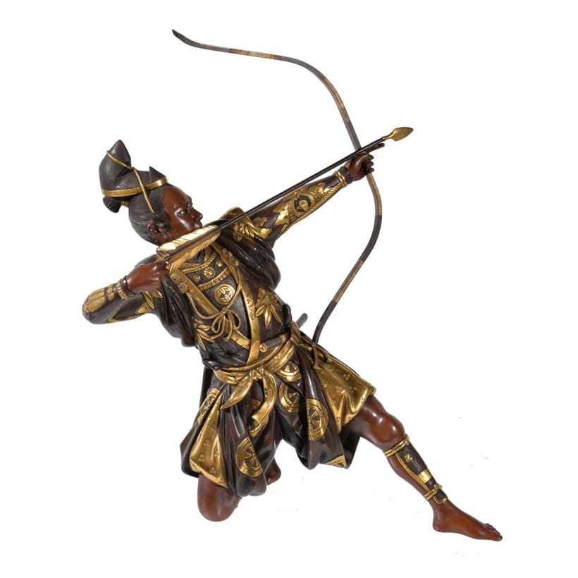 Inline Image - Lot 163: Masamitsu (Shoko): A Miya-O style Japanese Parcel Gilt Bronze Figure of an Archer | Est. £2,000-4,000 (+fees)