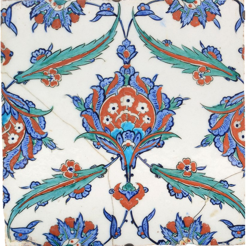 Inline Image - Lot 40: A large Iznik polychrome glazed fritware tile, Ottoman Turkey, circa 1575 | Provenance: From the Estate of the late Sir Howard Hodgkin CH CBE | Est. £6,000-8,000 (+fees)